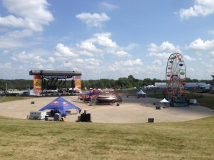 Main stage and carnival rides